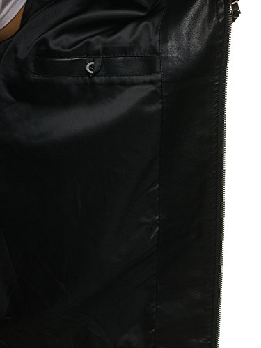 4d4 Uomo 5006 – Stagione Bolf Pelle Mezza Giacca In Da Chiusa Zip Stile Quotidiano A Nero wBOqT