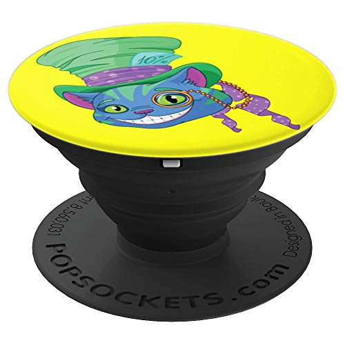 Cheshire Cat Grinning in Mad Hatter Hat Monocle - PopSockets Grip and Stand for Phones and Tablets -