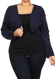 CurvyLuv.com Sale Women Plus Size Dressy Heavy Weight Warm Bolero Shrug Knit Long Sleeve Bolero