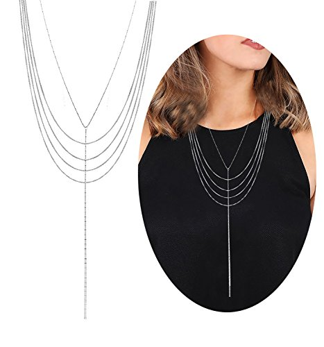 Lariat Tassel Choker Necklace - Multilayer Choker Necklace Boho Long Tassel Pendant Necklace Delicate Chain Bib Necklace Adjustable Lariat Y Necklaces for Women Girls (Silver)