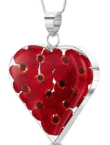 Plata Joyas con flores Reales: collar, colgante–Amapolas rojas–Corazón–con 45cm Cadena de plata