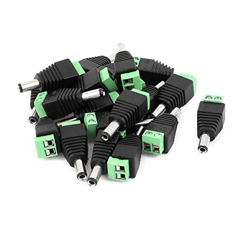 uxcell 20 Pcs 5.5mm x 2.5mm Male DC Power Jack Terminal Connectors for CCTV Camera