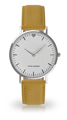 YVES CAMANI Amelie Women's Wrist Watch Quartz Analog Yellow Leather Strap White Dial YC1097-A-735