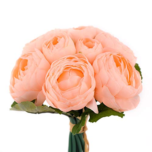 Yunuo Fake Peony Colorful Artificial Flowers Wedding Bridal Bouquet House Decor (Light Pink)