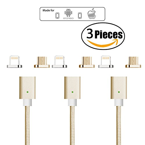 Netdot 3 pieces 3rd Generation Magnetic Charging Cable Adapter with 1 IOS Connector and 1 Micro-usb Connector compatible with both Android Smartphone and iPhone (2 in 1/3 pieces (3rd Cable)
