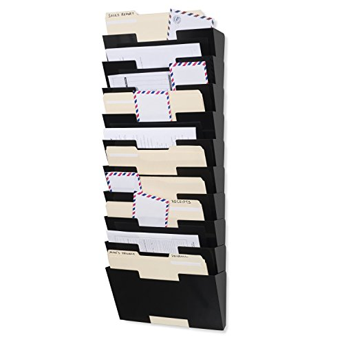 Wallniture Lisbon Wall Mounted Steel File Holder - Organizer Rack 10 Sectional Modular Design Letter Size 13 Inch - Multi-Purpose Organizer Display Magazines - Sort Files and Folders (Black)