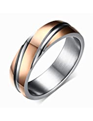 6mm Stainless Steel Wedding Bands Two-tone Grooves Engagement Rings for Men or Women