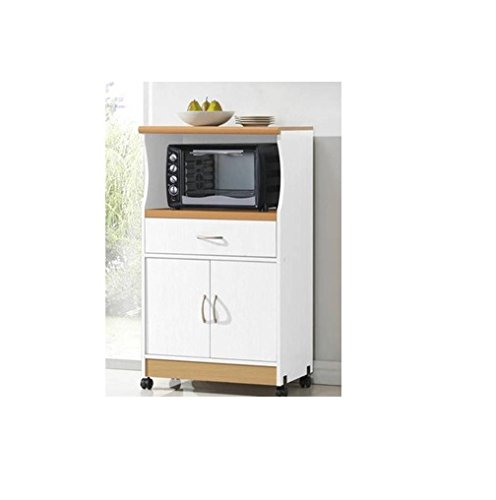 Microwave Cart Stand - White Finish - One Shelf for the Microwave and  Another Shelf Above Plus a Drawer and Cabinet Below - Microwave Stand With Hutch: Amazon.com