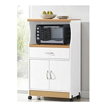 Delicieux Microwave Cart Stand   White Finish   One Shelf For The Microwave And  Another Shelf Above