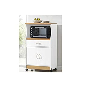 microwave cart stand white finish one shelf for the microwave and another shelf. Black Bedroom Furniture Sets. Home Design Ideas