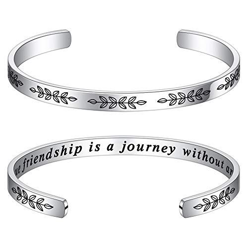 M MOOHAM Friendship Bracelets for Women Friend Gifts - A True Friendship is A Journey Without an End Bracelet Friend Birthday, Moving Away Long Distance Jewelry Gift for Best Friend, Bestie