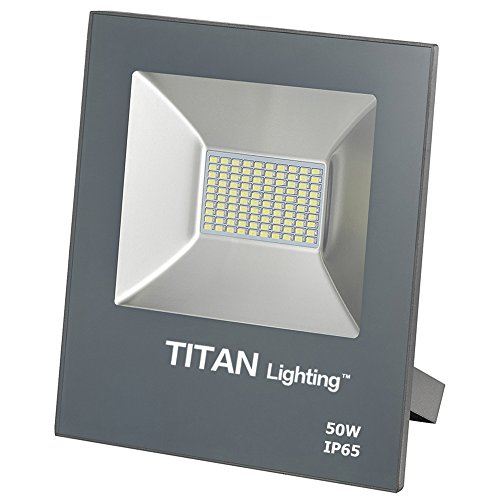 Titan Lighting Gray Frameless 50W Led Flood Lights, 100W HPS/HID Replacement, 4250LM, 6000K Day Light, Waterproof, 120-277V, Instant on