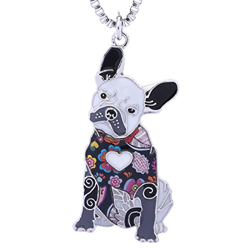Luckeyui French Bulldog Gifts Necklace for Women Unique Enamel Animal Pets Dog Pendants Jewelry