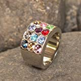 Hoshen Stones Judaica Ring 12 Tribes Of Israel Silver Color - Please send us a message with the required size.From 8 till 10.5 US