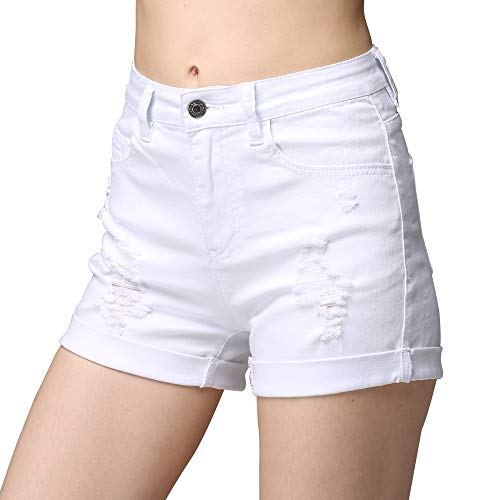 (cunlin High Waist Denim Shorts for Women Ripped high Waisted Jeans Shorts White XS)