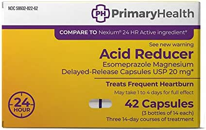 Primary Health Acid Reducer Esomeprazole Magnesium 20mg Delayed-Release Capsules, 42Count