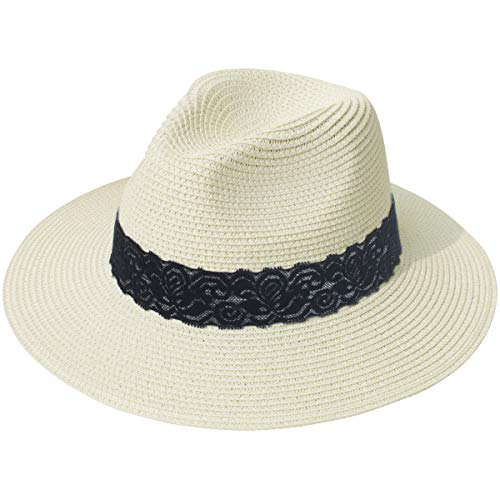 Lanzom Women Wide Brim Straw Panama Roll up Hat Fedora Beach Sun Hat UPF50+ (B-Beige)