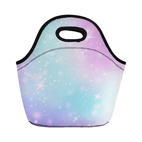 Semtomn Lunch Bags Fairy Rainbow Mesh Girlie Universe in Princess Colors Fantasy Neoprene Lunch Bag Lunchbox Tote Bag Portable Picnic Bag Cooler Bag