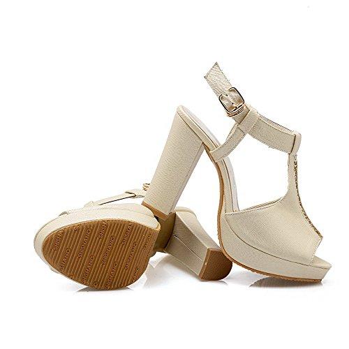 Amoonyfashion Womens Buckle Pu Open-teen High-heels Solide Sandalen Goud