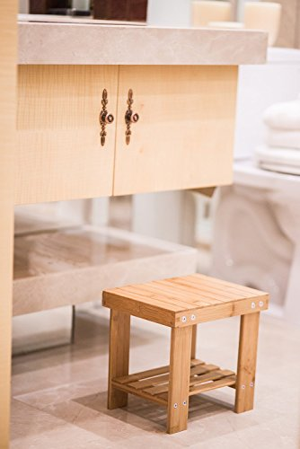 Bonnlo Multifunctional Small Size Shower Seat Bench Bamboo Step Stool Seat with Storage Shelf Foot Rest for Kids Leisure,Durable,Lightweight for Living Room,Bedroom,Garden by Bonnlo