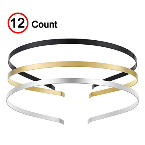 (Smooth Metal Headbands with 3 Colors Black Gold Silver Plated Hairband Head Bands Pack of 12)
