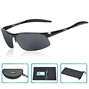DAWAY SG06BG Mens Polarized Sports Sunglasses for Golf Fishing Cycling Driving - UV 400 TAC Lens with Al-Mg Unbreakable Metal Frames