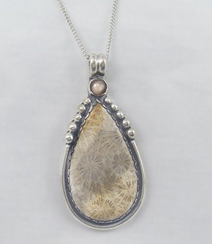Fossil Coral Pendant (J Pool Custom Design Collection Handmade Fossil Coral and Peach Moonstone with Sterling Silver)