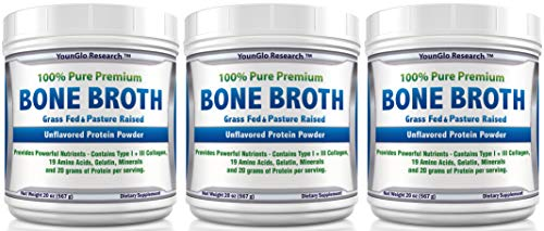 Bone Broth Protein Powder from Grass Fed Beef – 20oz – High in Collagen Gelatin – Paleo Keto Friendly – Unflavored 3 Pack