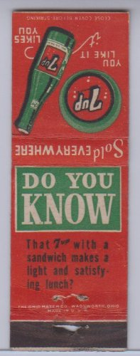 7 Up Vintage Matchbook Cover Sold Everywhere