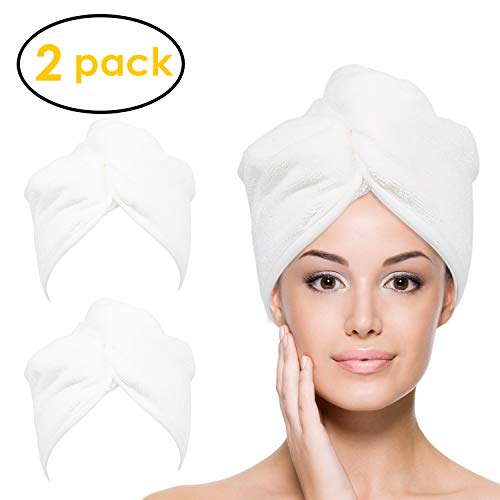 YoulerTex Microfiber Hair Towel Wrap for Women, 2 Pack 10 inch X 26 inch, Super Absorbent Quick Dry Hair Turban For Drying Curly, Long & Thick Hair (White) ()