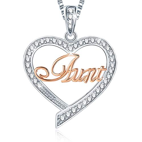- Ado Glo Birthday Gift for Her 'Aunt' Two Tone Love Heart Pendant Necklace, Fashion Jewelry for Women, Anniversary Present from Niece Nephew to Auntie
