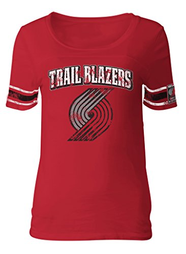 5th & Ocean NBA Portland Trail Blazers Adult Women Ladies Baby Jersey Short sleeve with Printed sleeve (5th And Ocean Womens Shirt)
