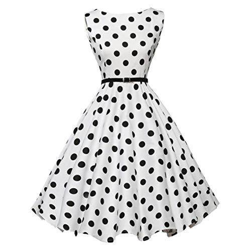 iYBUIA Hepburn Roman Holiday Women Vintage Bodycon Sleeveless Casual Retro Evening Party Prom Swing Dress(White,L) -