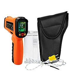 Non Contact Infrared Thermometer w/K-Type Thermocouple & UV Light Leak Detect