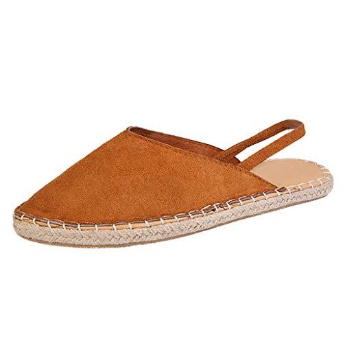 (YKARITIANNA Women Ladies Fashion Flat Casual Slip On Pointed Toe Roman Shoes Sandals Brown)