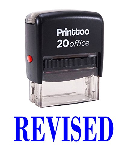 Printtoo Office Stationary REVISED Self Inking Rubber Stamp Custom Stamp-Blue