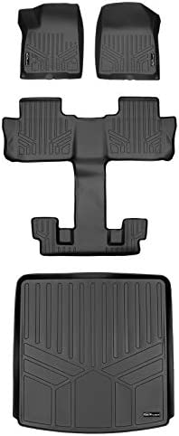 MAXLINER Floor Mats 3 Rows and Cargo Liner Behind 2nd Row Set Black for 2017-2021 GMC Acadia with 2nd Row Bucket Seats