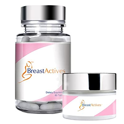 Image of Breast Actives All Natural Breast Enhancement Supplement Capsules and Cream Combo Kit - Natural Formula for Natural Breast Enhancement - 3 Pack (3 Month Supply)