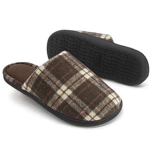 RockDove Men's Plaid Scuff with Memory Foam, 13-14, Coffee
