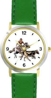 Horse and Rider Chasing Calf in Calf Wrestling Horse - WATCHBUDDY DELUXE TWO-TONE THEME WATCH - Arabic Numbers - Green Leather Strap-Size-Large ( Men's Size or Jumbo Women's Size ) by WatchBuddy