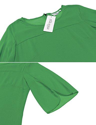 Asimetrica Cuello Volantes De Multicolor Meaneor Camisa Mangas O Mujer Verde Verano Gasa Blusa qTTtRw0Z
