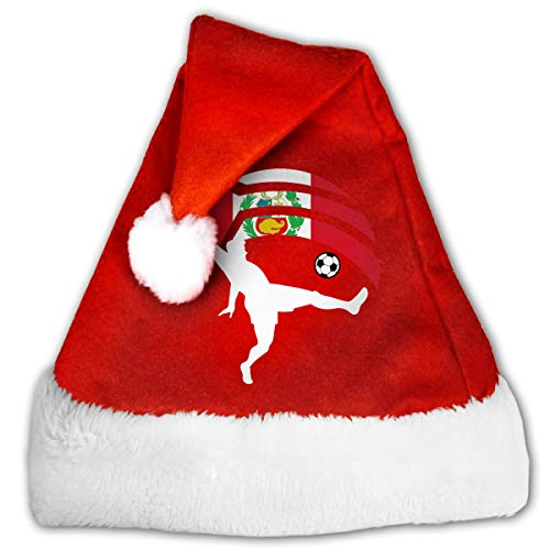 Soccer Player Kicking Ball Peru Flag Christmas Hat, Red&White Xmas Santa Claus' Cap for Holiday Party Hat -