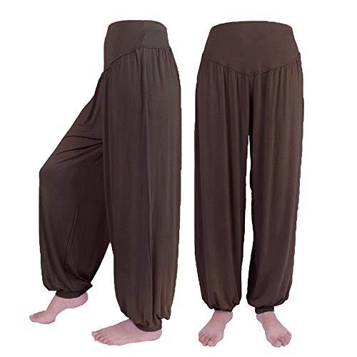 Hivot Wide Leg Pants for Women Dance Harem Pants Lounge PantsYoga Sports Trousers Beach Flared Pants Coffee