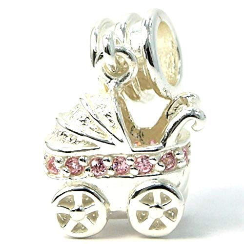 "Pro Jewelry .925 Sterling Silver ""Baby Carriage w/ Pink CZ Dangle"" Charm Bead for Snake Chain Charm Bracelet 2646"