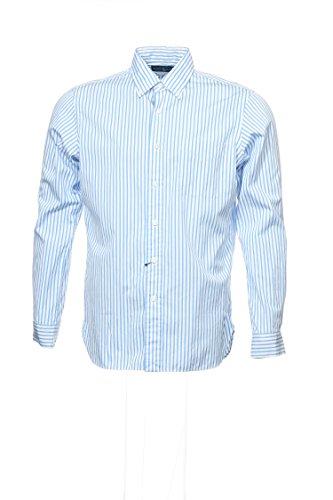 RALPH LAUREN Polo by Light Blue Vertical Striped Button Down Shirt Sport, Size Medium