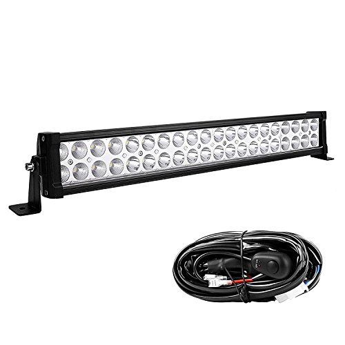 LED Light Bar YITAMOTOR 24 Inch Light Bar Offroad Spot Flood Combo Led Bar Waterproof Dual Row LED Work Light with Wiring Harness for Truck, 4X4, ATV, Boat, Jeep, 120W - 10,800 Lumens, 3 Year Warranty (Lights Led Waterproof Atv)