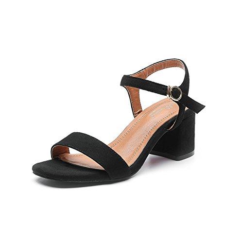 GAOLIM En El Verano Con Sandalias Rosa Femenino Y Versátil, Con El Alto-Heel Shoes Fijaciones Ranuradas, Rocío-Toe Zapatos De Mujer Negro5CM