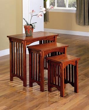Mission Oak Nesting Table - Inland Empire Furniture Hadden Warm Mission Oak Solid Wood 3 Piece Nesting Table Set