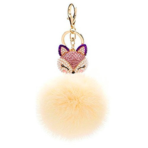 JewelBeauty Real Natural Rabbit Fur Ball with Artificial Fox Head Inlay Pearl Rhinestone Key Chain for Womens Bag or Cellphone or Car Pendant (Beige)