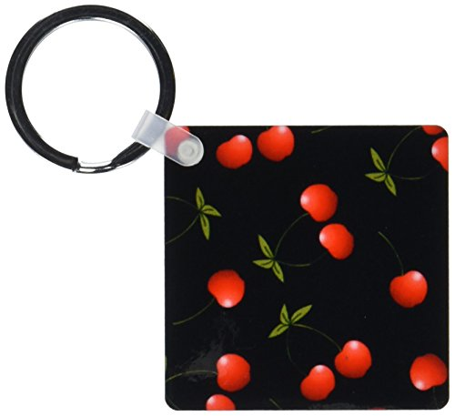 3dRose Cherry Print Juicy Red Cherries on Black - Key Chains, 2.25 x 4.5 inches, set of 6 (kc_24730_3)